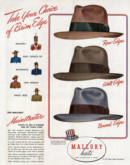 Men's Hats of the 1940s TRIM AND TAILORED:  SUITS, COATS AND HATS OF THE 1940S  Three men's hats from 1944.  An ad for Mallory hats in three stylesraw edge, welt edge and bound edge and three colors.  (Blank inside)  Our greeting cards are custom printed at our location in Seattle, WA. They come bagged with an envelope. We love illustration art from old children's books and early, printed ephemera. These cards reflect this interest in bringing delightful art back to life.