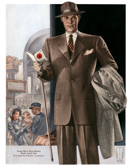 Men's Suits for Travel from the 1940s TRIM AND TAILORED:  SUITS, COATS AND HATS OF THE 1940S  Young Men's suit with travel theme  Young men's three-button notch lapel sack for winter 1941-42.  These prints are made at our location in Seattle, WA. They have a thick, white backing board and are sealed in clear bags. Each is suitable for framing at 11 inches x 14 inches or can be used as is for wall display. Our goal is to bring back to life these wonderful illustrations from old-fashioned, children'sbooks and from early advertising art.