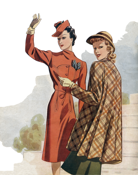 Red and Plaid Outerwear of the 1940s TRIM AND TAILORED:  SUITS, COATS AND HATS OF THE 1940S  A red fitted coat and a full plaid coat  A red wool coat with a draped high closure and decorative top-stitched pockets at breast and hip. A full, short cape-with-sleeves in plaid wool. Vienna 1941.  (Blank inside)  Our greeting cards are custom printed at our location in Seattle, WA. They come bagged with an envelope. We love illustration art from old children's books and early, printed ephemera. These cards reflect this interest in bringing delightful art back to life.