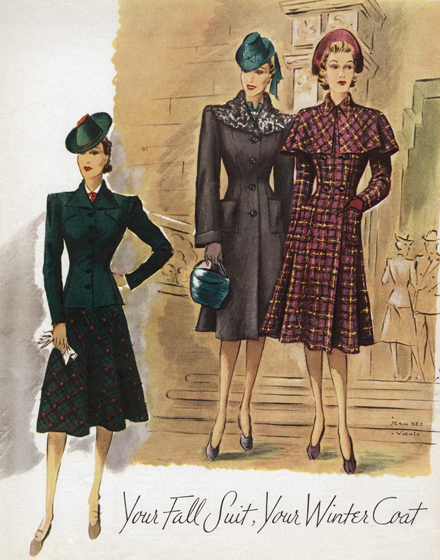 Fall Suiting From the 1940s TRIM AND TAILORED:  SUITS, COATS AND HATS OF THE 1940S  Your fall suit, your winter coat.  A suit with a fitted jacket in a dark green and a flared plaid skirt, and two fitted coats, one in plaid with a capelet and one with a wide collar of astrakhan.    (Blank inside)  Our greeting cards are custom printed at our location in Seattle, WA. They come bagged with an envelope. We love illustration art from old children's books and early, printed ephemera. These cards reflect this interest in bringing delightful art back to life.
