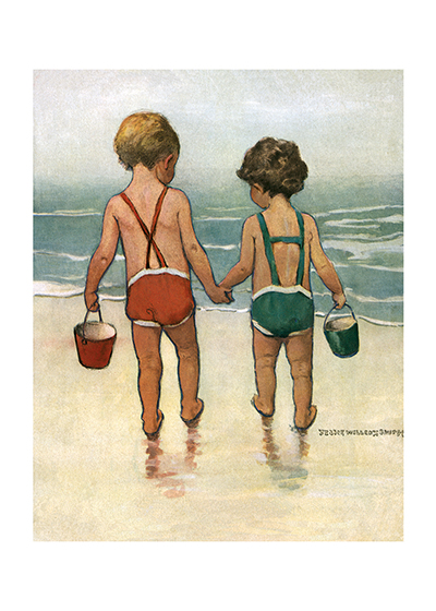 Brother and Sister at the Beach These prints are made at our location in Seattle, WA. They have a thick, white backing board and are sealed in clear bags. Each is suitable for framing at 11 inches x 14 inches or can be used as is for wall display. Our goal is to bring back to life these wonderful illustrations from old-fashioned, children's books and from early advertising art.