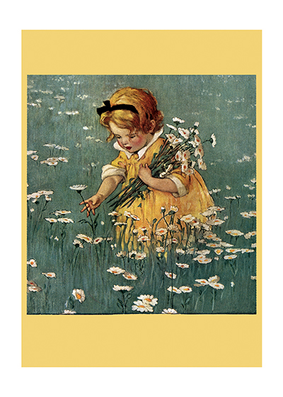 Little Girl Picking Daisies A little blond girl gathering daisies in a field.  Jessie Willcox Smith (1853-1935) was taught by Howard Pyle and became one of America's most beloved portrayers of children through her many books and the more than 200 covers she made for {Good Houskeeping} magazine.  Our blank notecards are custom printed at our location in Seattle, WA. They come bagged with an envelope. We love illustration art from old children's books and early, printed ephemera. These cards reflect this interest in bringing delightful art back to life.