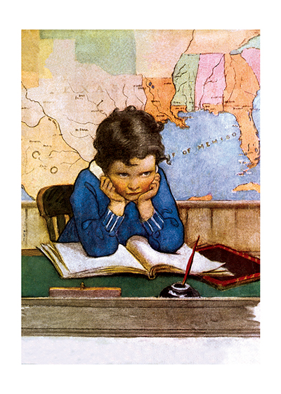 A Boy Daydreaming at School This little boy is apparently having trouble concentrating on his school book. Maybe he is dreaming of the romantic places on the map behind him.  Jessie Willcox Smith (1853-1935) was taught by Howard Pyle and became one of America's most beloved portrayers of children through her many books and the more than 200 covers she made for {Good Houskeeping} magazine.  These prints are made at our location in Seattle, WA. They have a thick, white backing board and are sealed in clear bags. Each is suitable for framing at 11 inches x 14 inches or can be used as is for wall display. Our goal is to bring back to life these wonderful illustrations from old-fashioned, children's books and from early advertising art.