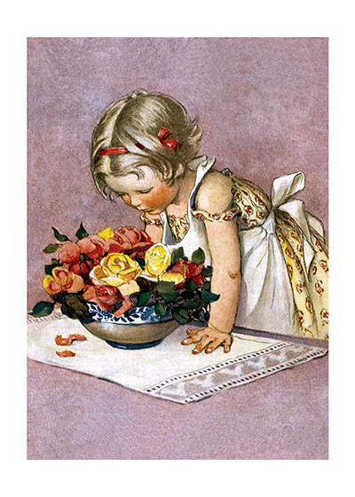 Stop And Smell The Roses | Jessie Willcox Smith Art Prints These prints are made at our location in Seattle, WA. They have a thick, white backing board and are sealed in clear bags. Each is suitable for framing at 11 inches x 14 inches or can be used as is for wall display. Our goal is to bring back to life these wonderful illustrations from old-fashioned, children's books and from early advertising art.