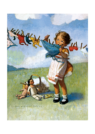 "Doing the Doll's Laundry | Jessie Willcox Smith Art Prints ""It's hard to hang up the doll's washing in all this wind!"
