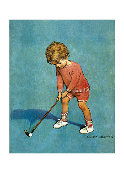 A Very Young Golfer | Jessie Willcox Smith Greeting Cards This little boy is concentrating very hard to be sure he hit that golf ball right.