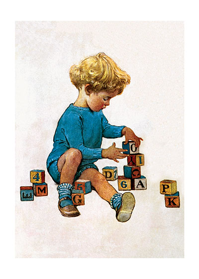 Building Blocks Making a tower of blocks takes a lot of concentration.  Jessie Willcox Smith (1853-1935) was taught by Howard Pyle and became one of America's most beloved portrayers of children through her many books and the more than 200 covers she made for {Good Houskeeping} magazine.  Our blank notecards are custom printed at our location in Seattle, WA. They come bagged with an envelope. We love illustration art from old children's books and early, printed ephemera. These cards reflect this interest in bringing delightful art back to life.