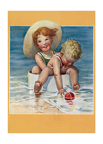 Swimming with Little Brother Maybe this is little brother's first time in the ocean.  Hold on tight!  Jessie Willcox Smith (1853-1935) was taught by Howard Pyle and became one of America's most beloved portrayers of children through her many books and the more than 200 covers she made for {Good Houskeeping} magazine.  These prints are made at our location in Seattle, WA. They have a thick, white backing board and are sealed in clear bags. Each is suitable for framing at 11 inches x 14 inches or can be used as is for wall display. Our goal is to bring back to life these wonderful illustrations from old-fashioned, children's books and from early advertising art.