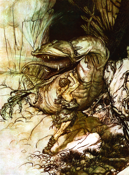 Siegfried Fights the Dragon _Siegfried fights the dragon Fafner._   From {Siegfried}, 1911.  Arthur Rackham (1867-1939) was one of the few illustrators as skillful at showing us the visible world as the realms and inhabitants of the imagination.  Rackham's fairies are superbly beautiful, but he also pictures magnificently grotesque creatures that no one has ever seen, at least not outside of dreams and nightmares.  His animate trees are undeniably real, albeit not something to be met with on a dark night, but many of his other visions show us beings and things we cannot place or define.  (Blank inside)  Our greeting cards are custom printed at our location in Seattle, WA. They come bagged with an envelope. We love illustration art from old children's books and early, printed ephemera. These cards reflect this interest in bringing delightful art back to life.