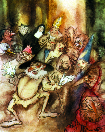 The Phantom Masquerade There was much of the beautiful, much of the wanton, much of the bizarre, something of the terrible, and not a little of that which might have excited disgust.  From {Poe's Tales of Mystery & Imagination}, 1935  Arthur Rackham (1867-1939) is one of the few illustrators as skillful at showing us the visible world as the realms and inhabitants of the imagination.  Rackham's fairies are superbly beautiful, but he also pictures magnificently creatures that no one has ever seen, at least not outside of dreams and nightmares.  His animate trees are undeniably real, albeit not something to be met with on a dark night, but many of his other visions show us beings and things we cannot place or define.  (Blank inside)  Our greeting cards are custom printed at our location in Seattle, WA. They come bagged with an envelope. We love illustration art from old children's books and early, printed ephemera. These cards reflect this interest in bringing delightful art back to life.