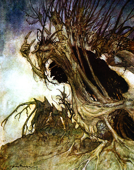 Beckoning Shadows Calling shapes and beckoning shadows dire.  From {Comus}, 1921.  Arthur Rackham (1867-1939) was one of the few illustrators as skillful at showing us the visible world as the realms and inhabitants of the imagination.  Rackham's fairies are superbly beautiful, but he also pictures magnificently creatures that no one has ever seen, at least not outside of dreams and nightmares.  His animate trees are undeniably real, albeit not something to be met with on a dark night, but many of his other visions show us beings and things we cannot place or define.  (Blank inside)  Our greeting cards are custom printed at our location in Seattle, WA. They come bagged with an envelope. We love illustration art from old children's books and early, printed ephemera. These cards reflect this interest in bringing delightful art back to life.