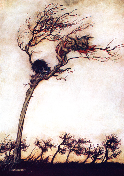 Cat and Demon From {Comus}, 1921.  Arthur Rackham (1867-1939) was one of the few illustrators as skillful at showing us the visible world as the realms and inhabitants of the imagination.  Rackham's fairies are superbly beautiful, but he also pictures magnificently creatures that no one has ever seen, at least not outside of dreams and nightmares.  His animate trees are undeniably real, albeit not something to be met with on a dark night, but many of his other visions show us beings and things we cannot place or define.  These prints are made at our location in Seattle, WA. They have a thick, white backing board and are sealed in clear bags. Each is suitable for framing at 11 inches x 14 inches or can be used as is for wall display. Our goal is to bring back to life these wonderful illustrations from old-fashioned, children's books and from early advertising art.
