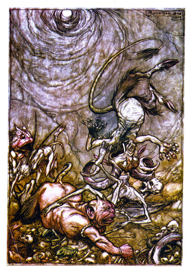Demons Falling > And he bounded away, like a football at play, > Till into the bottomless pit he fell slap, > Knocking Mammon the meagre o'er pursy Belphegor, > And Lucifer into Beelzebub's lap.  From {The Ingoldsby Legends}, 1907.  Arthur Rackham (1867-1939) is one of the few illustrators as skillful at showing us the visible world as the realms and inhabitants of the imagination.  Rackham's fairies are superbly beautiful, but he also pictures magnificently creatures that no one has ever seen, at least not outside of dreams and nightmares.  His animate trees are undeniably real, albeit not something to be met with on a dark night, but many of his other visions show us beings and things we cannot place or define.  These prints are made at our location in Seattle, WA. They have a thick, white backing board and are sealed in clear bags. Each is suitable for framing at 11 inches x 14 inches or can be used as is for wall display. Our goal is to bring back to life these wonderful illustrations from old-fashioned, children's books and from early advertising art.
