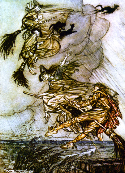 Witch Chase >Sitting their broomsticks like so many Ducrows;... >Rob siezes and mounts on a broomstick, too. >Hey! up the chimney, lass!  Hey after you!  From {The Ingoldsby Legends}, 1907.  Arthur Rackham (1867-1939) is one of the few illustrators as skillful at showing us the visible world as the realms and inhabitants of the imagination.  Rackham's fairies are superbly beautiful, but he also pictures magnificently creatures that no one has ever seen, at least not outside of dreams and nightmares.  His animate trees are undeniably real, albeit not something to be met with on a dark night, but many of his other visions show us beings and things we cannot place or define.  (Blank inside)  Our greeting cards are custom printed at our location in Seattle, WA. They come bagged with an envelope. We love illustration art from old children's books and early, printed ephemera. These cards reflect this interest in bringing delightful art back to life.