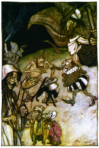 Witches, Warlocks and Ghouls >Well'tis now the hour.  Ill things have power. >So do Witches and Warlocks, Ghosts, Goblins and Ghouls.  From {The Ingoldsby Legends}, 1907.  Arthur Rackham (1867-1939) is one of the few illustrators as skillful at showing us the visible world as the realms and inhabitants of the imagination.  Rackham's fairies are superbly beautiful, but he also pictures magnificently creatures that no one has ever seen, at least not outside of dreams and nightmares.  His animate trees are undeniably real, albeit not something to be met with on a dark night, but many of his other visions show us beings and things we cannot place or define.  (Blank inside)  Our greeting cards are custom printed at our location in Seattle, WA. They come bagged with an envelope. We love illustration art from old children's books and early, printed ephemera. These cards reflect this interest in bringing delightful art back to life.