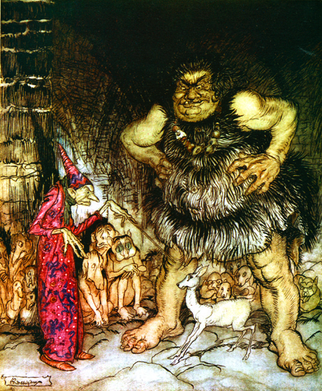 Giant and Wicked Magician _The giant, Galligantua, and the wicked magician transform the duke's daughter into a white hind._   From {English Fairy Tales}, 1918.  Arthur Rackham (1867-1939) is one of the few illustrators as skillful at showing us the visible world as the realms and inhabitants of the imagination.  Rackham's fairies are superbly beautiful, but he also pictures magnificently creatures that no one has ever seen, at least not outside of dreams and nightmares.  His animate trees are undeniably real, albeit not something to be met with on a dark night, but many of his other visions show us beings and things we cannot place or define.  (Blank inside)  Our greeting cards are custom printed at our location in Seattle, WA. They come bagged with an envelope. We love illustration art from old children's books and early, printed ephemera. These cards reflect this interest in bringing delightful art back to life.