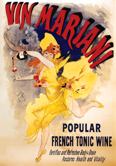 Vin Mariana French Wine Poster These prints are made at our location in Seattle, WA. They have a thick, white backing board and are sealed in clear bags. Each is suitable for framing at 11 inches x 14 inches or can be used as is for wall display. Our goal is to bring back to life these wonderful illustrations from old-fashioned, children'sbooks and from early advertising art.