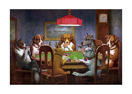 Dogs Playing Poker These prints are made at our location in Seattle, WA. They have a thick, white backing board and are sealed in clear bags. Each is suitable for framing at 11 inches x 14 inches or can be used as is for wall display. Our goal is to bring back to life these wonderful illustrations from old-fashioned, children's books and from early advertising art.
