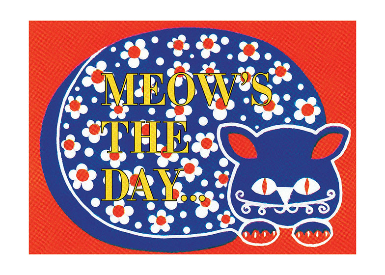 A Calico Cat | Birthday Greeting Cards Outside greeting: Meow's the day...
