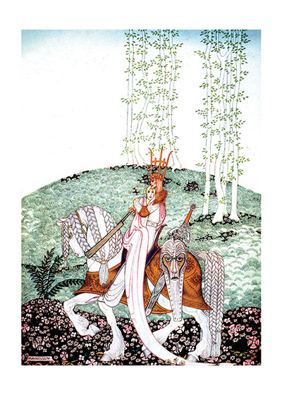 A Bride and Groom On a Glorious Horse  INSIDE GREETING: Congratulations  Our greeting cards are custom printed at our location in Seattle, WA. They come bagged with an envelope. We love illustration art from old children's books and early, printed ephemera. These cards reflect this interest in bringing delightful art back to life.