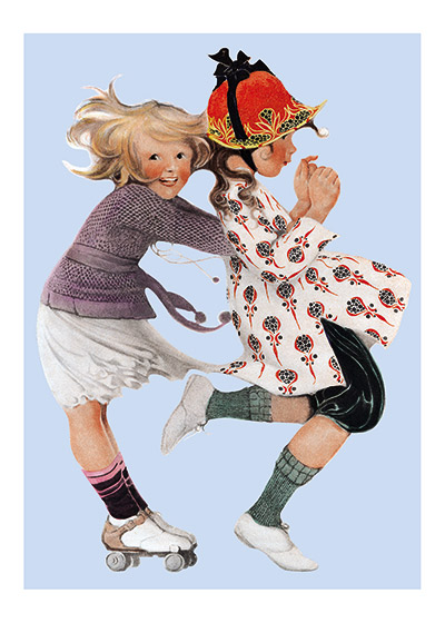 Girls Roller Skating  INSIDE GREETING: Friendship is one of life's great joys.  Our greeting cards are custom printed at our location in Seattle, WA. They come bagged with an envelope. We love illustration art from old children's books and early, printed ephemera. These cards reflect this interest in bringing delightful art back to life.