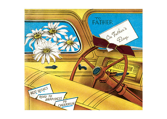 To Father On Father's Day  OUTSIDE GREETINGS:To Father on Father's Day; Best Wishes; Road to Happiness; To Cheerville.  INSIDE GREETING:Just a lift for Dad on the road to happiness on Father's Day  .Reproduction of vintage Father's Day card.  This card features the art and text of a card from about the 1950s. The interior view of a car of the era playfully reminds us the love affair between men and cars.  A warm nostalgic note for Dad on his day.  Our greeting cards are custom printed at our location in Seattle, WA. They come bagged with an envelope. We love illustration art from old children's books and early, printed ephemera. These cards reflect this interest in bringing delightful art back to life.