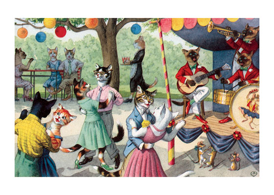 A Summer Cat Dance | Captivating Cats Animals Art Prints Cats in this world are obviously accomplished dancers, and these couples twirl under lanterns, to the music of a 3-cat band.  (Notice the mice joining in.)