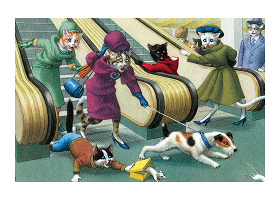 Terriers are Born Ratters This Cat Lady's fox terrier may be doing what comes naturally, but an escalator is not a popular place to chase a mouse, especially a pet white one. Chaos is bound to ensue!  Eugen Hartung (or Hurtong) (1897-1973) was born in Waldi, Switzerland. 'In addition to the Mainzer images he apparently illustrated fairy tale and other children's books, notably the childrens song book {Come, Children, Let's Sing (Ch Chinde, mir wand singe)} published to promote the Maggi Soup company. He also created several murals in public buildings in Zurich.  The Hartung postcards were first published in Switzerland by Max Kunzli of Zurich, printed in continuous tone. From the 1940s through the 1960s, the Alfred Mainzer Company of Long Island City, NY published them in a series of linen and photochrome postcards. They were sometimes referred to as Mainzer Cats.  These postcards normally illustrate settings that are filled with action, often with a minor disaster just about to occur. While the dressed cats were by far the most popular and most plentiful cards, Hartung also painted other dressed animals - primarily mice, dogs, and hedgehogs. Typically, the Kunzli cats are featured in European settings and the cards are not as brightly colored as the American editions. Later cards were printed in halftone lithography in a variety of countries, including Belgium, Turkey, Thailand, and Spain.  Our prints are made at our location in Seattle, WA. They have a thick, white backing board and are sealed in clear bags. Each is suitable for framing at 11 inches x 14 inches or can be used as is for wall display. Our goal is to bring back to life these wonderful illustrations from old-fashioned, children's books and from early advertising art.