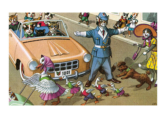 Make Way for Ducklings This Cat Policeman is doing his jobstopping traffic for Mama Duck to cross safely with her family.  That poodle could be better-mannered about it all, but then he _is_ a dog.  Eugen Hartung (or Hurtong) (1897-1973) was born in Waldi, Switzerland. 'In addition to the Mainzer images he apparently illustrated fairy tale and other children's books, notably the childrens song book {Come, Children, Let's Sing (Ch Chinde, mir wand singe)} published to promote the Maggi Soup company. He also created several murals in public buildings in Zurich.  The Hartung postcards were first published in Switzerland by Max Kunzli of Zurich, printed in continuous tone. From the 1940s through the 1960s, the Alfred Mainzer Company of Long Island City, NY published them in a series of linen and photochrome postcards. They were sometimes referred to as Mainzer Cats.  These postcards normally illustrate settings that are filled with action, often with a minor disaster just about to occur. While the dressed cats were by far the most popular and most plentiful cards, Hartung also painted other dressed animals - primarily mice, dogs, and hedgehogs. Typically, the Kunzli cats are featured in European settings and the cards are not as brightly colored as the American editions. Later cards were printed in halftone lithography in a variety of countries, including Belgium, Turkey, Thailand, and Spain.  Our blank notecards are custom printed at our location in Seattle, WA. They come bagged with an envelope. We love illustration art from old children's books and early printed ephemera. These cards reflect this interest in bringing delightful art back to life.