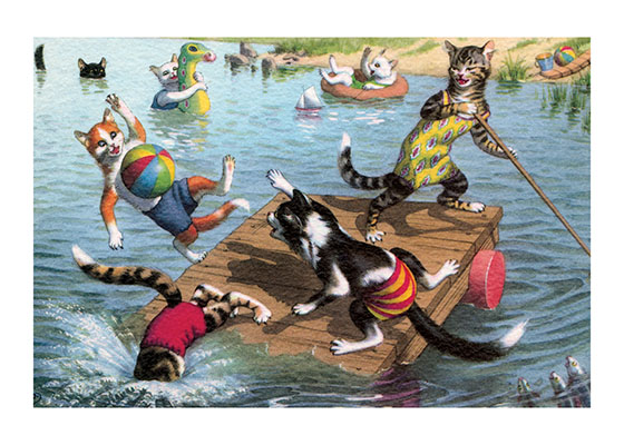 Cat Fun in the Water A ball game on a floating raft is bound to end with everybody in the water, but after all, that's the fun of it.  Eugen Hartung (or Hurtong) (1897-1973) was born in Waldi, Switzerland. 'In addition to the Mainzer images he apparently illustrated fairy tale and other children's books, notably the childrens song book {Come, Children, Let's Sing (Ch Chinde, mir wand singe)} published to promote the Maggi Soup company. He also created several murals in public buildings in Zurich.  The Hartung postcards were first published in Switzerland by Max Kunzli of Zurich, printed in continuous tone. From the 1940s through the 1960s, the Alfred Mainzer Company of Long Island City, NY published them in a series of linen and photochrome postcards. They were sometimes referred to as Mainzer Cats.  These postcards normally illustrate settings that are filled with action, often with a minor disaster just about to occur. While the dressed cats were by far the most popular and most plentiful cards, Hartung also painted other dressed animals - primarily mice, dogs, and hedgehogs. Typically, the Kunzli cats are featured in European settings and the cards are not as brightly colored as the American editions. Later cards were printed in halftone lithography in a variety of countries, including Belgium, Turkey, Thailand, and Spain.  Our greeting cards are custom printed at our location in Seattle, WA. They come bagged with an envelope. We love illustration art from old books for children and early, printed ephemera. These cards reflect this interest in bringing delightful art back to life.