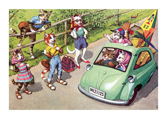 Hitchhikers Cats on a tramp through the countryside, and wanting a lift? Peculiar, but then, who knew that cats drove BMW Isettas!  Eugen Hartung (or Hurtong) (1897-1973) was born in Waldi, Switzerland. 'In addition to the Mainzer images he apparently illustrated fairy tale and other children's books, notably the childrens song book {Come, Children, Let's Sing (Ch Chinde, mir wand singe)} published to promote the Maggi Soup company. He also created several murals in public buildings in Zurich.  The Hartung postcards were first published in Switzerland by Max Kunzli of Zurich, printed in continuous tone. From the 1940s through the 1960s, the Alfred Mainzer Company of Long Island City, NY published them in a series of linen and photochrome postcards. They were sometimes referred to as Mainzer Cats.  These postcards normally illustrate settings that are filled with action, often with a minor disaster just about to occur. While the dressed cats were by far the most popular and most plentiful cards, Hartung also painted other dressed animals - primarily mice, dogs, and hedgehogs. Typically, the Kunzli cats are featured in European settings and the cards are not as brightly colored as the American editions. Later cards were printed in halftone lithography in a variety of countries, including Belgium, Turkey, Thailand, and Spain.  Our greeting cards are custom printed at our location in Seattle, WA. They come bagged with an envelope. We love illustration art from old books for children and early, printed ephemera. These cards reflect this interest in bringing delightful art back to life.