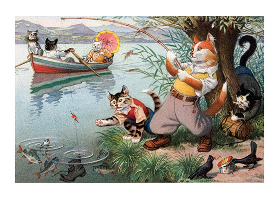 A Cat Fishing Trip This Cat Fisherman is having some problems birds in his worms, a thief in his creel and an unpleasant surprise on the end of his line.  The ladies, however, are having a fine time in a boat.  Eugen Hartung (or Hurtong) (1897-1973) was born in Waldi, Switzerland. 'In addition to the Mainzer images he apparently illustrated fairy tale and other children's books, notably the childrens song book {Come, Children, Let's Sing (Ch Chinde, mir wand singe)} published to promote the Maggi Soup company. He also created several murals in public buildings in Zurich.  The Hartung postcards were first published in Switzerland by Max Kunzli of Zurich, printed in continuous tone. From the 1940s through the 1960s, the Alfred Mainzer Company of Long Island City, NY published them in a series of linen and photochrome postcards. They were sometimes referred to as Mainzer Cats.  These postcards normally illustrate settings that are filled with action, often with a minor disaster just about to occur. While the dressed cats were by far the most popular and most plentiful cards, Hartung also painted other dressed animals - primarily mice, dogs, and hedgehogs. Typically, the Kunzli cats are featured in European settings and the cards are not as brightly colored as the American editions. Later cards were printed in halftone lithography in a variety of countries, including Belgium, Turkey, Thailand, and Spain.  Our greeting cards are custom printed at our location in Seattle, WA. They come bagged with an envelope. We love illustration art from old books for children and early, printed ephemera. These cards reflect this interest in bringing delightful art back to life.
