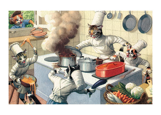 A Cat Cook with Big Problems This Cat Cook had better think about getting some new assistants.  The ones he has leave a good deal to be desired.  Eugen Hartung (or Hurtong) (1897-1973) was born in Waldi, Switzerland. 'In addition to the Mainzer images he apparently illustrated fairy tale and other children's books, notably the childrens song book {Come, Children, Let's Sing (Ch Chinde, mir wand singe)} published to promote the Maggi Soup company. He also created several murals in public buildings in Zurich.  The Hartung postcards were first published in Switzerland by Max Kunzli of Zurich, printed in continuous tone. From the 1940s through the 1960s, the Alfred Mainzer Company of Long Island City, NY published them in a series of linen and photochrome postcards. They were sometimes referred to as Mainzer Cats.These postcards normally illustrate settings that are filled with action, often with a minor disaster just about to occur. While the dressed cats were by far the most popular and most plentiful cards, Hartung also painted other dressed animals - primarily mice, dogs, and hedgehogs. Typically, the Kunzli cats are featured in European settings and the cards are not as brightly colored as the American editions. Later cards were printed in halftone lithography in a variety of countries, including Belgium, Turkey, Thailand, and Spain.  Our prints are made at our location in Seattle, WA. They have a thick, white backing board and are sealed in clear bags. Each is suitable for framing at 11 inches x 14 inches or can be used as is for wall display. Our goal is to bring back to life these wonderful illustrations from old-fashioned, children's books and from early advertising art.