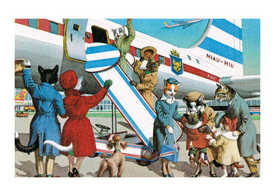 Cats' Bon Voyage These cats are giving their friends and family a fine send off.  The charming stewardess will make sure their plane trip is comfortable. Bon Voyage!  Eugen Hartung (or Hurtong) (1897-1973) was born in Waldi, Switzerland. 'In addition to the Mainzer images he apparently illustrated fairy tale and other children's books, notably the childrens song book {Come, Children, Let's Sing (Ch Chinde, mir wand singe)} published to promote the Maggi Soup company. He also created several murals in public buildings in Zurich.  The Hartung postcards were first published in Switzerland by Max Kunzli of Zurich, printed in continuous tone. From the 1940s through the 1960s, the Alfred Mainzer Company of Long Island City, NY published them in a series of linen and photochrome postcards. They were sometimes referred to as Mainzer Cats.These postcards normally illustrate settings that are filled with action, often with a minor disaster just about to occur. While the dressed cats were by far the most popular and most plentiful cards, Hartung also painted other dressed animals - primarily mice, dogs, and hedgehogs. Typically, the Kunzli cats are featured in European settings and the cards are not as brightly colored as the American editions. Later cards were printed in halftone lithography in a variety of countries, including Belgium, Turkey, Thailand, and Spain.  Our greeting cards are custom printed at our location in Seattle, WA. They come bagged with an envelope. We love illustration art from old books for children and early, printed ephemera. These cards reflect this interest in bringing delightful art back to life.