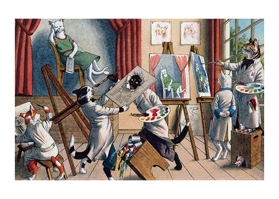 A Cat Art Class Cats may be excellent artists, but these art students are not going to learn much if they don't stop fighting.  Eugen Hartung (or Hurtong) (1897-1973) was born in Waldi, Switzerland. 'In addition to the Mainzer images he apparently illustrated fairy tale and other children's books, notably the childrens song book {Come, Children, Let's Sing (Ch Chinde, mir wand singe)} published to promote the Maggi Soup company. He also created several murals in public buildings in Zurich.  The Hartung postcards were first published in Switzerland by Max Kunzli of Zurich, printed in continuous tone. From the 1940s through the 1960s, the Alfred Mainzer Company of Long Island City, NY published them in a series of linen and photochrome postcards. They were sometimes referred to as Mainzer Cats.These postcards normally illustrate settings that are filled with action, often with a minor disaster just about to occur. While the dressed cats were by far the most popular and most plentiful cards, Hartung also painted other dressed animals - primarily mice, dogs, and hedgehogs. Typically, the Kunzli cats are featured in European settings and the cards are not as brightly colored as the American editions. Later cards were printed in halftone lithography in a variety of countries, including Belgium, Turkey, Thailand, and Spain.  Our greeting cards are custom printed at our location in Seattle, WA. They come bagged with an envelope. We love illustration art from old books for children and early, printed ephemera. These cards reflect this interest in bringing delightful art back to life.