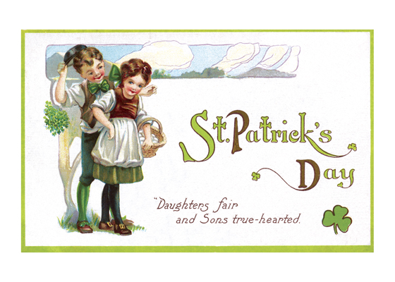 Irish Sons and Daughters Daughters fair and Sons true-hearted.  A St. Patrick's Day postcard from about 1910 picturing two charming children with shamrocks and a basket of potatoes to represent the flower of Irish youth.  Illustrator unknown  (Blank inside)  Our greeting cards are custom printed at our location in Seattle, WA. They come bagged with an envelope. We love illustration art from old children's books and early, printed ephemera. These cards reflect this interest in bringing delightful art back to life.