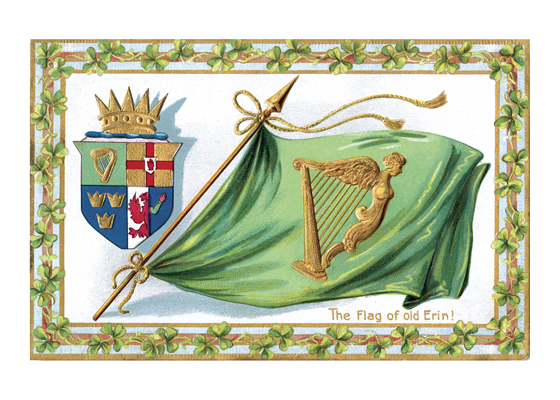 Flag of Old Erin A postcard from about 1911 picturing a heraldic shield and a green flag showing the golden Irish harp, surrounded with a charming border of shamrocks.  Illustrator unknown  (Blank inside)  Our greeting cards are custom printed at our location in Seattle, WA. They come bagged with an envelope. We love illustration art from old children's books and early, printed ephemera. These cards reflect this interest in bringing delightful art back to life.