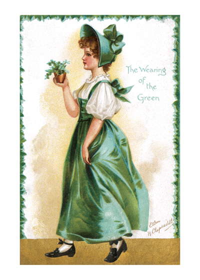 The Wearing of the Green | St. Patrick's Day Greeting Cards From a postcard of a charming Irish colleen, dressed in green, of course, and carrying a little pot of shamrocks.