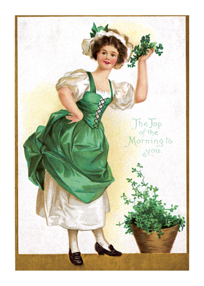 The Top of the Morning to You From a postcard printed about 1909.  It pictures a comely Irish colleen, dressed in antique clothing (lots of green, of course) holding a bunch of shamrocks to emphasize her cheerful, old-country greeting.  Illustrator unknown  (Blank inside)  Our greeting cards are custom printed at our location in Seattle, WA. They come bagged with an envelope. We love illustration art from old children's books and early, printed ephemera. These cards reflect this interest in bringing delightful art back to life.