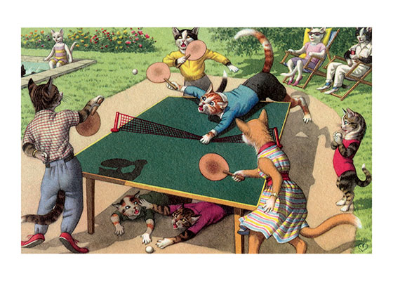 A Wild Game of Ping Pong These Cat couples are having an athletic game of ping pong, while their offspring watch and squabble.  Eugen Hartung (or Hurtong) (1897-1973) was born in Switzerland. 'In addition to the Mainzer images he apparently illustrated fairy tale and other children's books, notably the childrens song book {Come, Children, Let's Sing} published to promote the Maggi Soup company. He also created several murals in public buildings in Zurich.  The Hartung postcards were first published in Switzerland by Max Kunzli of Zurich, printed in continuous tone. From the 1940s through the 1960s, the Alfred Mainzer Company of Long Island City, NY published them in a series of linen and photochrome postcards. They were sometimes referred to as Mainzer Cats.These postcards normally illustrate settings that are filled with action, often with a minor disaster just about to occur. While the dressed cats were by far the most popular and most plentiful cards, Hartung also painted other dressed animals - primarily mice, dogs, and hedgehogs. Typically, the Kunzli cats are featured in European settings and the cards are not as brightly colored as the American editions. Later cards were printed in halftone lithography in a variety of countries, including Belgium, Turkey, Thailand, and Spain.  Our greeting cards are custom printed at our location in Seattle, WA. They come bagged with an envelope. We love illustration art from old books for children and early, printed ephemera. These cards reflect this interest in bringing delightful art back to life.