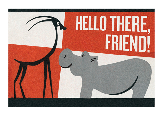 Hello There, Friend  OUTSIDE GREETING: Hello There, Friend.  BLANK INSIDE  Our greeting cards are custom printed at our location in Seattle, WA. They come bagged with an envelope. We love illustration art from old children's books and early, printed ephemera. These cards reflect this interest in bringing delightful art back to life.