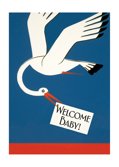 Stork Bringing News  OUTSIDE GREETING: Welcome Baby!   BLANK INSIDE)  Our greeting cards are custom printed at our location in Seattle, WA. They come bagged with an envelope. We love illustration art from old children's books and early, printed ephemera. These cards reflect this interest in bringing delightful art back to life.