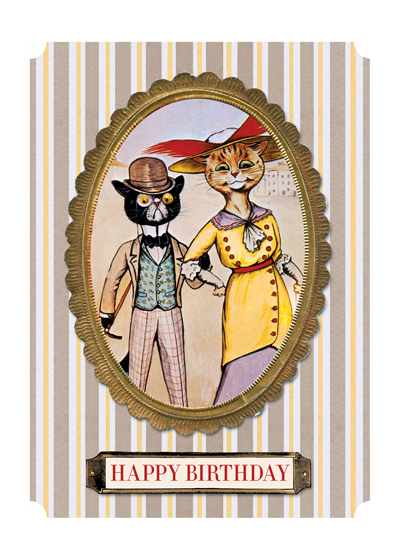 Fashionable Cats   INSIDE GREETING: Congratulations on your special day.  Our greeting cards are custom printed at our location in Seattle, WA. They come bagged with an envelope. We love illustration art from old children's books and early, printed ephemera. These cards reflect this interest in bringing delightful art back to life.