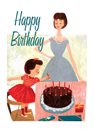 Fixing the Cake  OUTSIDE GREETING: Happy Birthday  INSIDE GREETING: Have a grand day.  Mom in her pearls and her little girl in a fancy dress are both ready for a special party in this delightful retro birthday card.  Our greeting cards are custom printed at our location in Seattle, WA. They come bagged with an envelope. We love illustration art from old children's books and early, printed ephemera. These cards reflect this interest in bringing delightful art back to life.