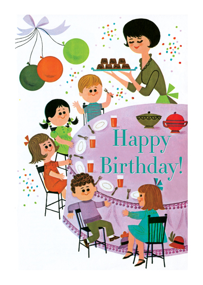 Birthday Party Fun  INSIDE GREETING: Have a great birthday.  Our greeting cards are custom printed at our location in Seattle, WA. They come bagged with an envelope. We love illustration art from old children's books and early, printed ephemera. These cards reflect this interest in bringing delightful art back to life.