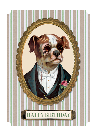 Dapper Dog   OUTSIDE GREETING: Happy Birthday  INSIDE GREETING: To my elegant friend  Our greeting cards are custom printed at our location in Seattle, WA. They come bagged with an envelope. We love illustration art from old children's books and early, printed ephemera. These cards reflect this interest in bringing delightful art back to life.