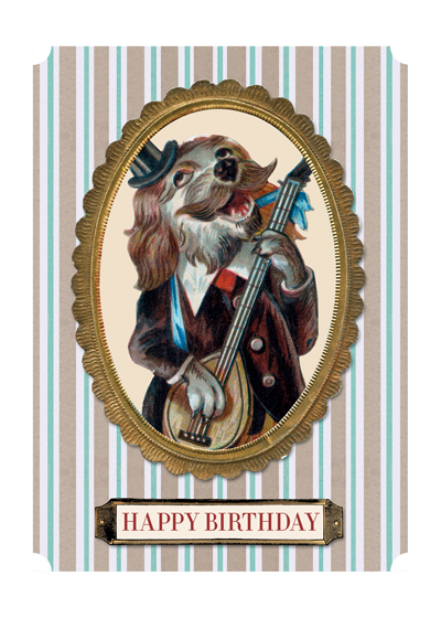 Musical Dog  OUTSIDE GREETING: Happy Birthday  INSIDE GREETING: To one talented gent.  Our greeting cards are custom printed at our location in Seattle, WA. They come bagged with an envelope. We love illustration art from old children's books and early, printed ephemera. These cards reflect this interest in bringing delightful art back to life.
