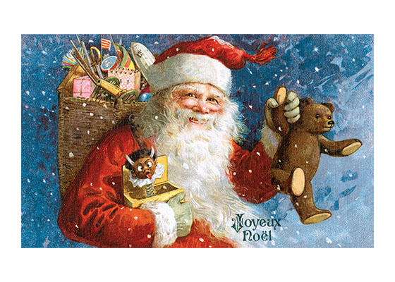 Santa with a Teddy Bear  This image of a smiling Santa proudly showing a teddy bear that he is about to deliver to a lucky child, is taken from an antique postcard and has been very popular with our customers.  Inside Greeting:  Merry Christmas  Our notecards are custom printed at our location in Seattle, WA. They come bagged with an envelope. We love illustration art from old children's books and early, printed ephemera. These cards reflect this interest in bringing delightful art back to life.