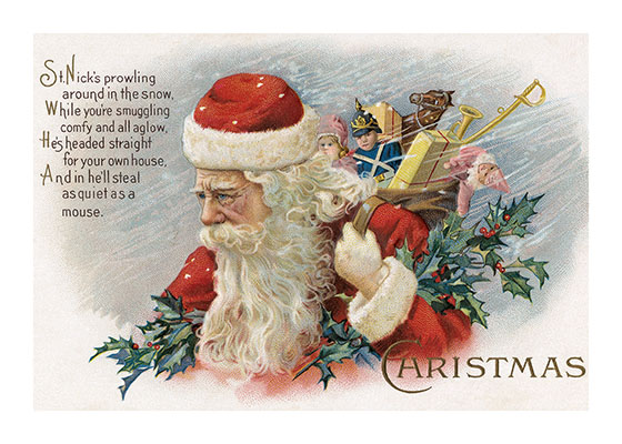 Santa with a Bundle of Toys  Outside Greeting: St. Nick's prowling around in the snow...  Our notecards are custom printed at our location in Seattle, WA. They come bagged with an envelope. We love illustration art from old children's books and early, printed ephemera. These cards reflect this interest in bringing delightful art back to life.