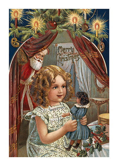 Girl with a Doll, Watched By Santa  Inside Greeting: Christmas Greetings  A little girl delighted with her new Christmas doll, as Santa watches from the background.  Our notecards are custom printed at our location in Seattle, WA. They come bagged with an envelope. We love illustration art from old children's books and early, printed ephemera. These cards reflect this interest in bringing delightful art back to life.